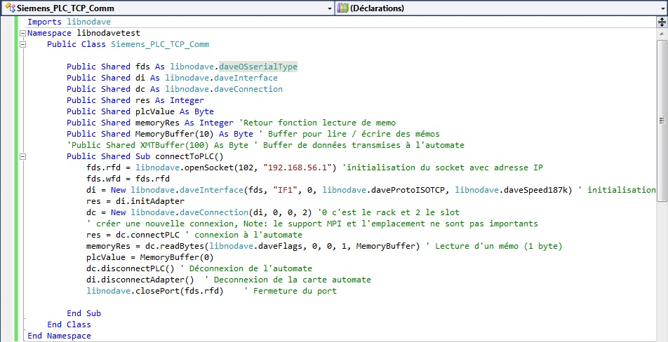 Source code and example visual basic libnodave