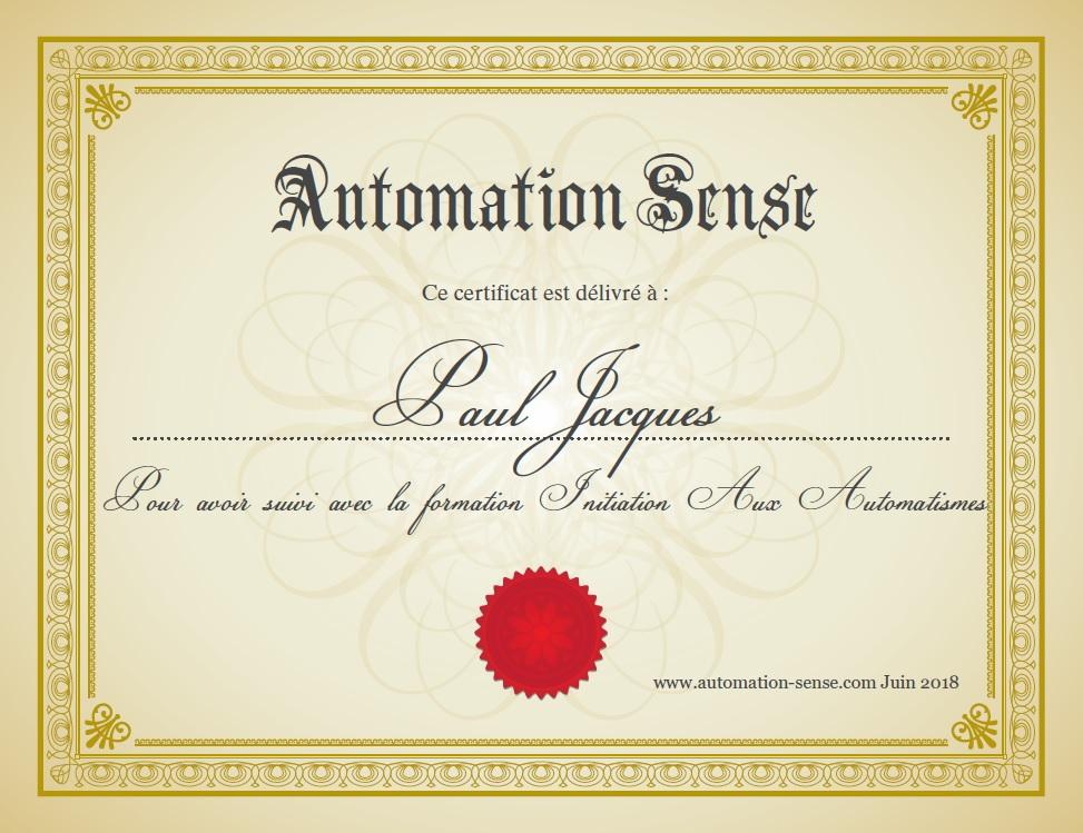 Certificat automation sense